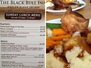 Sunday Lunch at the Black Bull Wooler