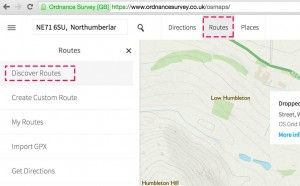 "Select ""Routes"" at the top, then ""Discover routes"" on the left"