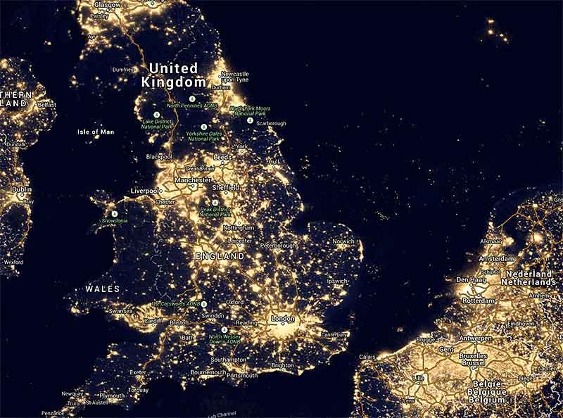 dark sky light map